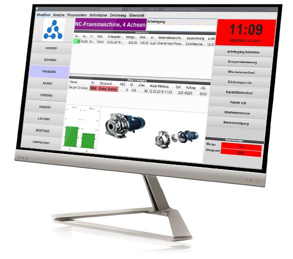 Ein Computer zeigt cronetwork Betriebsdaten
