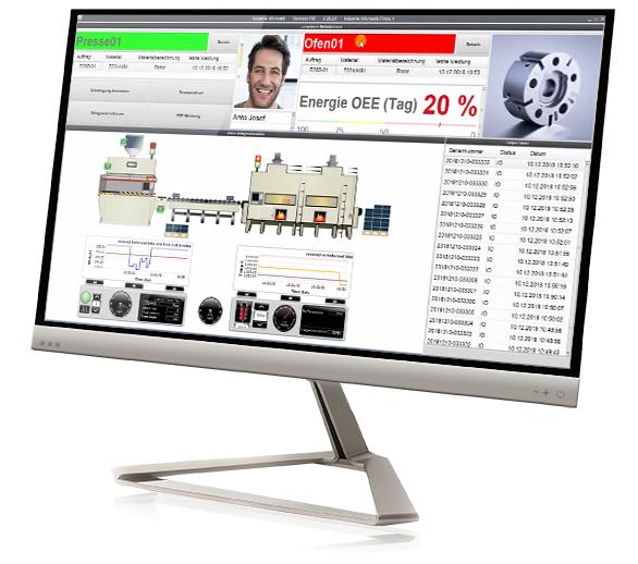 Ein Computer zeigt cronetwork Maschinendaten
