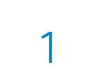 Die Zahl 1 in blau