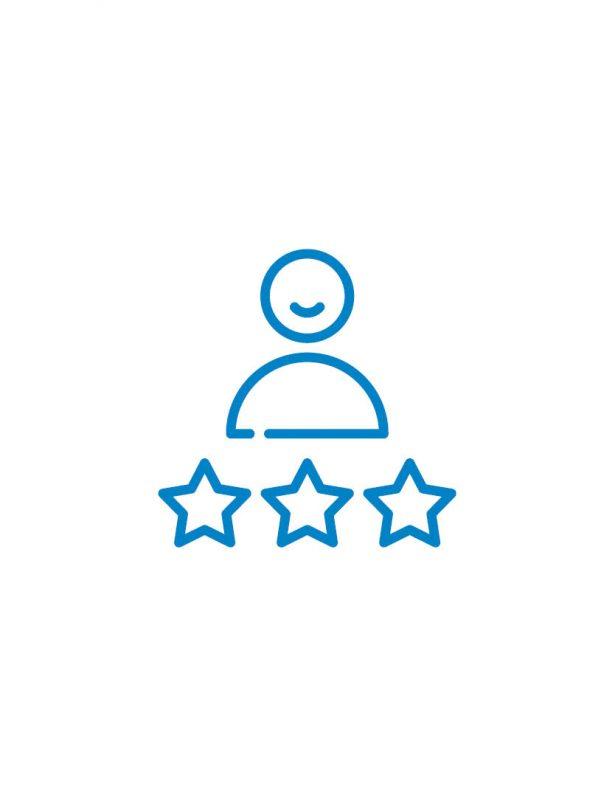 mensch sterne icon blau