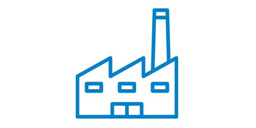 Ein blaues Fabrik Icon