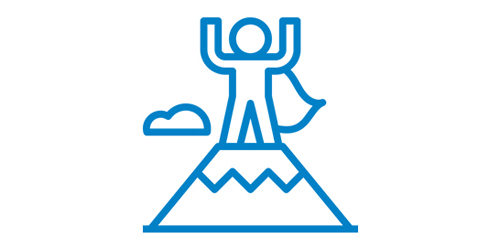 Ein blaues Icon mit einem Mann auf einem Hügel