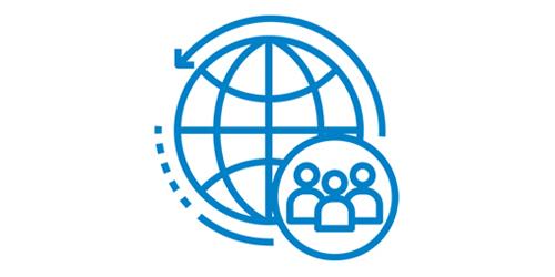 Ein blaues Globus Icon