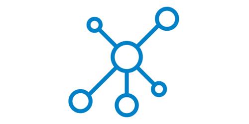 Ein blaues Netzwerk Icon