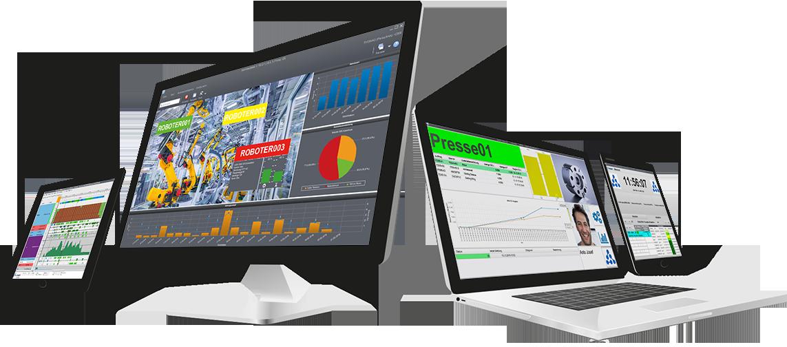 Bildschirme mit cronetwork Portal, Terminal und Betriebsdaten