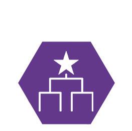 Ein lila sechseck mit einem Podest Icon