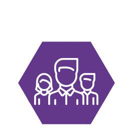 Ein Sechseck mit Menschen Icons