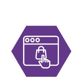 Ein Sechseck mit einem Shopsymbol