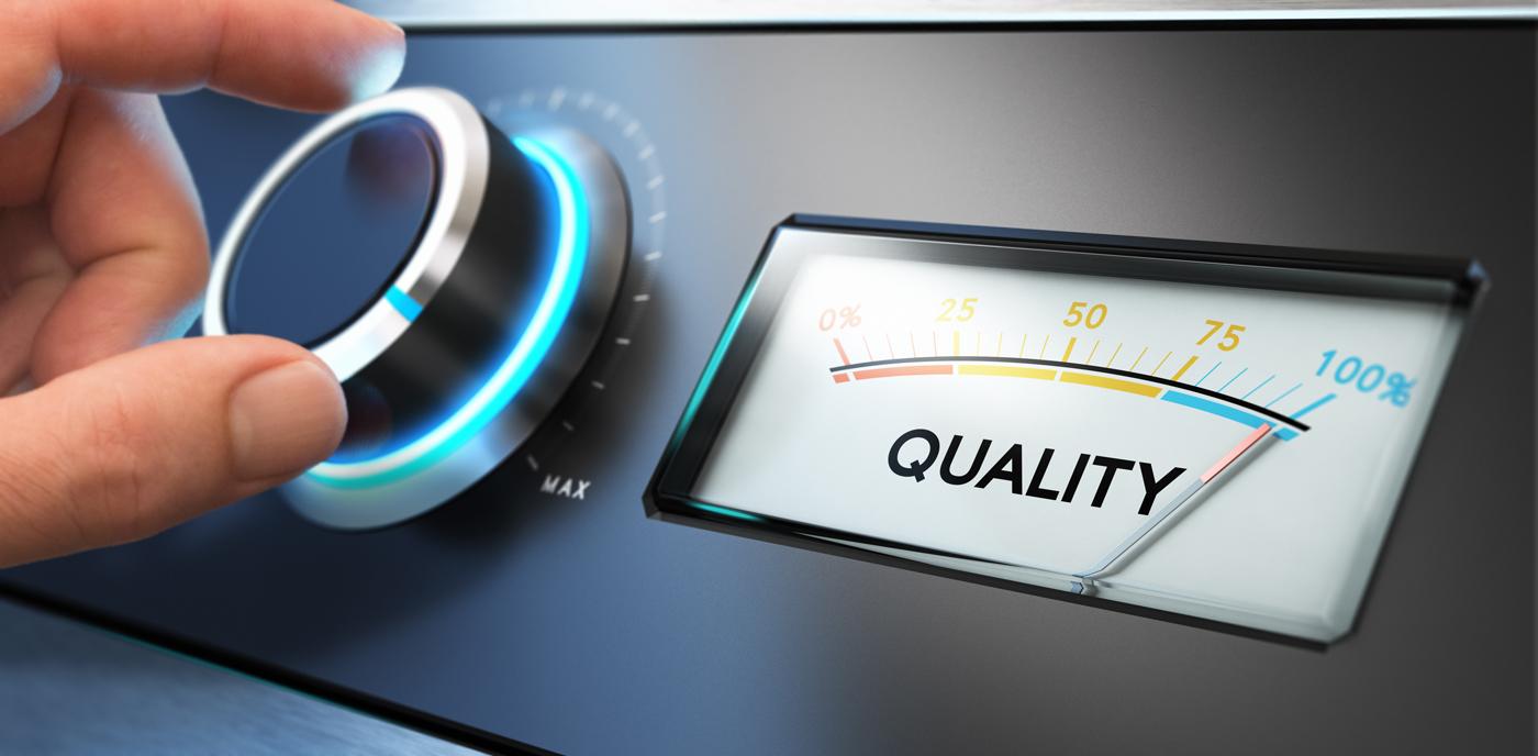 Ein Drehknopf und daneben der Begriff Quality