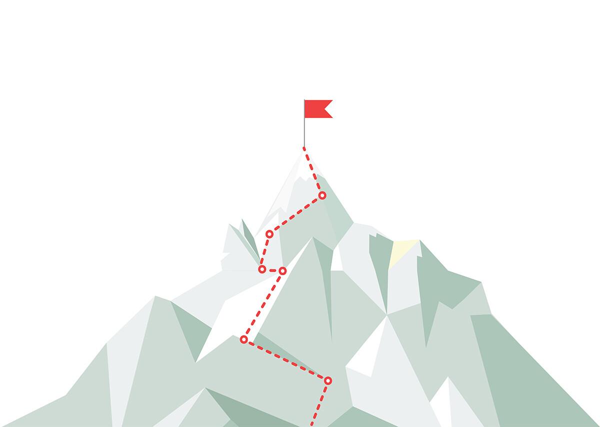 Berg Grafik rote Linie